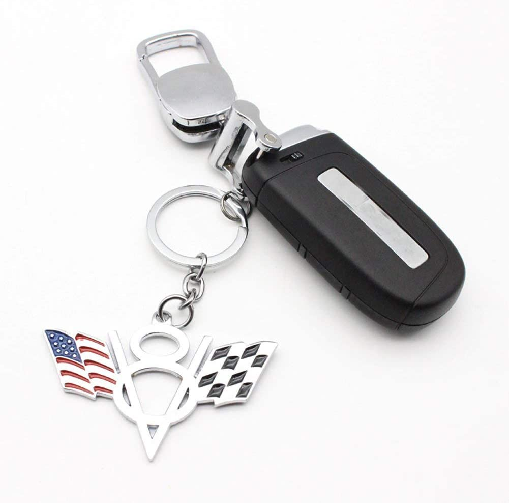 Chrome Car Key Ring Metal American Germany Flags V8 Car Key Chain for Corvette