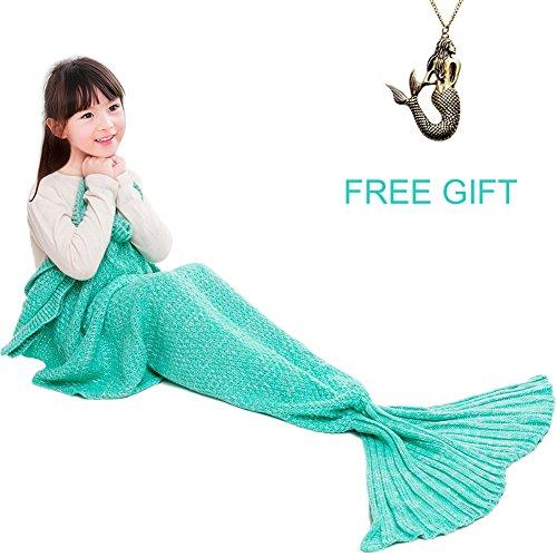 JR.WHITE Mermaid Tail Blanket for Kids,Hand Crochet Snuggle