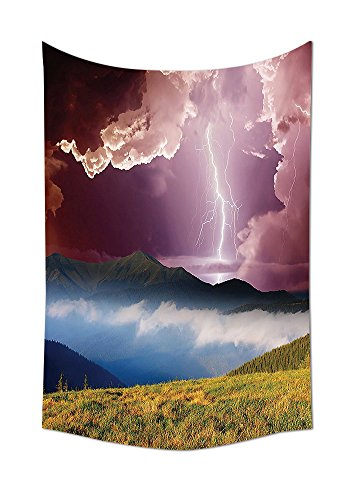 Lake House Decor Tapestry Wall Hanging Sky with Electrical Storm Rays Powerful Effect on Earth Rural Landscape Print Bedroom Living Room Dorm Decor Green Pink Blue