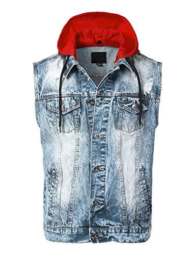 - URBANCREWS Mens Hipster Button-Down Denim Hooded Vest Jacket Light Blue - S