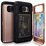 TORU CX PRO Galaxy S7 Wallet Case Pink with Hidden ID Slot Credit Card Holder Hard Cover & Mirror for Samsung Galaxy S7 - Rose Gold