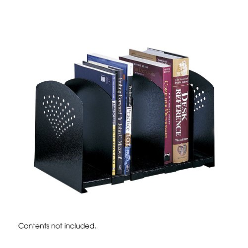 Five-Section Adjustable Book Rack, Steel, 15 1/4 X 9 X 9, Black By: Safco by Office Realm