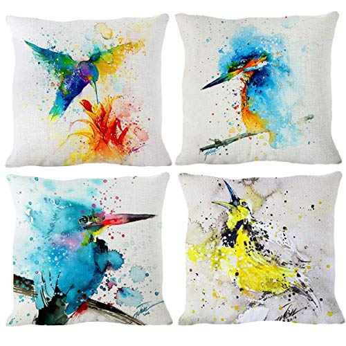 NYKKOLA Painting Woodpecker Hummingbird Throw Pillow Covers Pack of 4, Decorative Pillowcase Cushion Cover for Sofa Bedroom Car 18 x 18 Inch 45 x 45 cm (Style 17) ()
