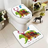 HuaWuhome 2 Piece Extended Bath mat Set Color Animals Bear Wolf Fox Bird Drawing Over on Paper Lettering savethe Nature 2 Piece Toilet Cover Set