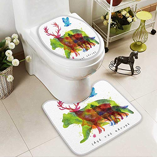 HuaWuhome 2 Piece Extended Bath mat Set Color Animals Bear Wolf Fox Bird Drawing Over on Paper Lettering savethe Nature 2 Piece Toilet Cover Set by HuaWuhome