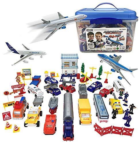 Airport Play Set - 57 Piece Kids Playset In Storage Bucket With Toy Airplanes, Vehicles, Police Figures, Workers, And Many More Accessories, Best Party Favor, Gift, Holiday, Birthday Theme, Enjoyment