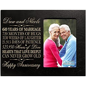 Year Wedding Anniversary Gift for Couple Custom engraved 60th Wedding ...