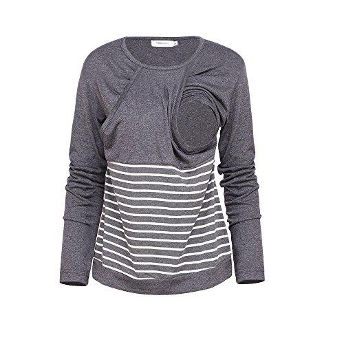 Lunga Bluse Allattamento A shirt Manica Tops Ailient Maglietta T Sciolto L'allattamento Casual Patchwork Maternity Grey Gravidanza Donna Righe BxwZ0qH