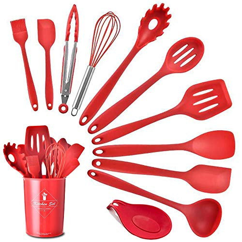 Silicone Kitchen Utensils Set: Heat-Resistant Silicone Cooking Tools for Non-Stick Cookware(Red Holder))