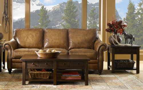 (Aspen 100% Full Aniline Italian Leather Love Seat (Shown in Artisano Antique))