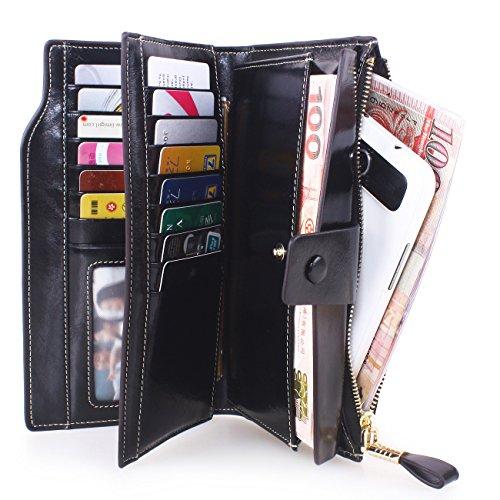VentoMarea Women's RFID Blocking Large Capacity Luxury Waxed Genuine Leather Clutch Wallet Multi Card Organizer Ladies Purse by VentoMarea (Image #6)