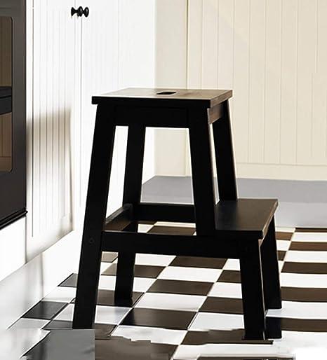 HOMRanger Taburete de Madera Escalera de Dos escalones Cocina Simple para pies, Alto 50 cm, 3 Colores (Color: Negro): Amazon.es: Hogar