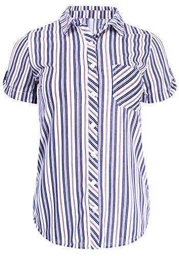 - Short Sleeve Stripe Button Down Shirt Knit Top Navy Red L Size
