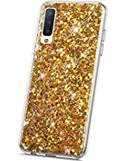 JAWSEU Glitter Siliconen TPU Bumper Case Compatibel met Samsung Galaxy S10 Samsung Galaxy A7 2018 Bling Goud