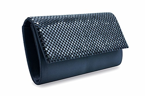 Crossbody Purse Bag for Women Evening Party Mesh Bling Clutch Handbag Cluth Black Metal Smoothly and for Girls Bags 8waxnUP