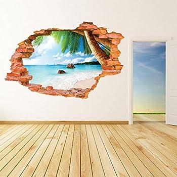 "U-Shark 3D Self-adhesive Removable Break Through the Wall Vinyl Wall Sticker/Mural Art Decals Decorator (8001F Coconut Sea Beach(23.6"" X 35.4""))"