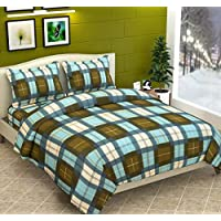 TIB Check Print Fleece Warm Woolen Double Bedsheet with 2 Pillow Covers