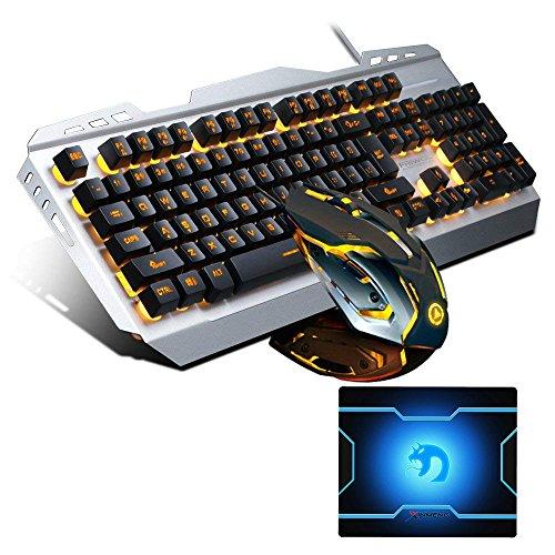 FELICON Keyboard and Mouse Combo Wired Usb 104 Keys Orange LED Backlit V1 Ergonomic Multimedia Gaming Keyboard Water Resistant + 3200DPI Adjust Optical Breathe Light 6 Buttons Mouse (Black Orange) by FELiCON