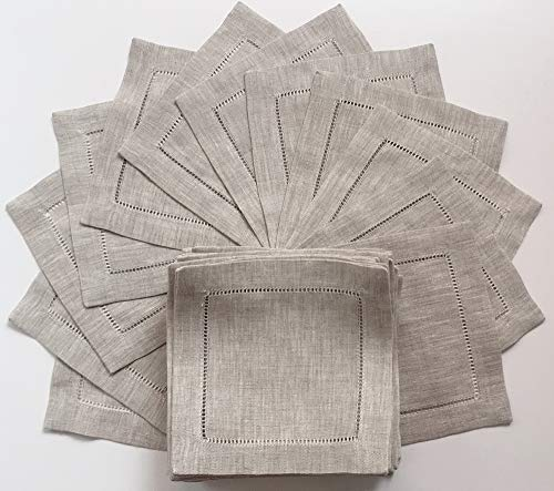(Natural Linen Cocktail Napkin-Set of 50-Linen Cloth Napkin Coasters-Ladder Hem Stitch-Super Value Bulk 50 Pack)