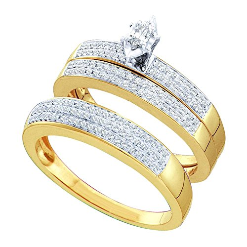 (Sizes - L = 9.5, M = 8 - 10k Yellow and White 2 Two Tone Gold Mens and Ladies Couple His & Hers Trio 3 Three Ring Bridal Matching Engagement Wedding Ring Band Set - Marquise and Round Diamonds - Solitaire Center Setting w/ Channel Set Side Stones (1/2 cttw))