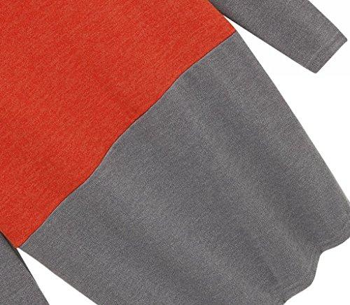 Camisa Mujer Rojo Larga Blusa Manga Body Llanura Anuncios EwFT6qO
