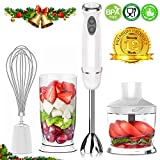 XProject HB-2028 Immersion Powerful 4-in-1 Stainless Hand Blender Stick, Processor, Whisk and Beaker Smoothies Baby Food Yogurt Sauces Soups, White,
