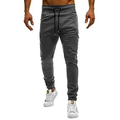 e85c3fba9f53d Homme Pantalon de Sport Mince Supplémentaire d'été pour Les Loisirs Jachère Slim  Coton Jogging