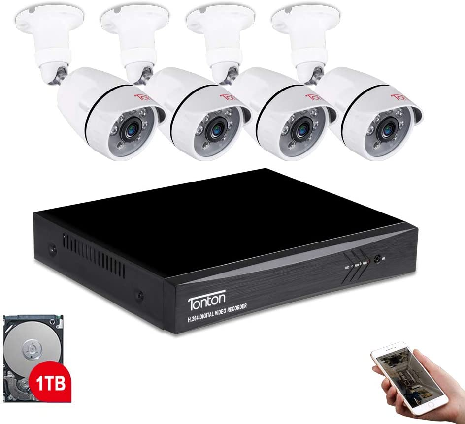 Tonton 8CH Full HD 1080P Expandable Security Camera System Outdoor, 5-in-1 Surveillance DVR with 1TB Hard Drive and (4) 2.0MP Waterproof Bullet Camera,Free APP Remote Viewing and Email Alert