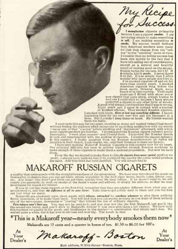 (Rare 1910 AD for MAKAROFF Russian CIGARETS from Boston Original Paper Ephemera Authentic Vintage Print Magazine Ad/Article)