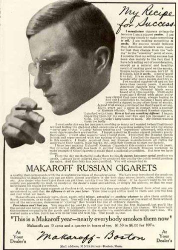 Rare 1910 AD for MAKAROFF Russian CIGARETS from Boston Original Paper Ephemera Authentic Vintage Print Magazine Ad/Article