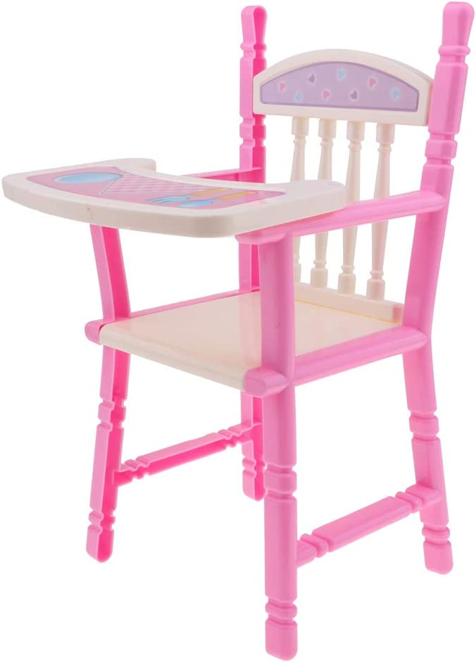 Pink High Chair Dining Chair Model for 9-11inch Reborn Girl Dolls Accessory