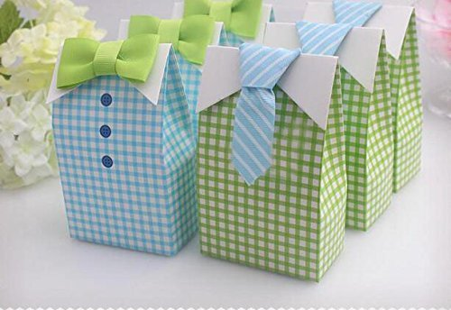 Little Man Candy Favor Boxes Boy Baby Shower Party Favor Boxes with Blue Green Bow Tie Ribbon Paper Candy Bags for Blue Green Gingham Party Decorations Supplies (Gingham Favor Boxes)