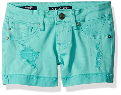 Vigoss Girls' 5 Pocket Hyper Stretch Short, Little Girls, Lucite Green, 6