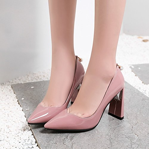 Charm Foot Mujeres Chic Pointed Toe Chunky High Heel Bombas Zapatos Pink