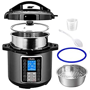 Mueller-UltraPot-6Q-Pressure-Cooker-Instant-Crock-10-in-1-Pot-with-German-ThermaV-Tech-Cook-2-Dishes-at-Once-BONUS-Tempered-Glass-Lid-incl-Saute-Steamer-Slow-Rice-Yogurt-Maker-Sterilizer