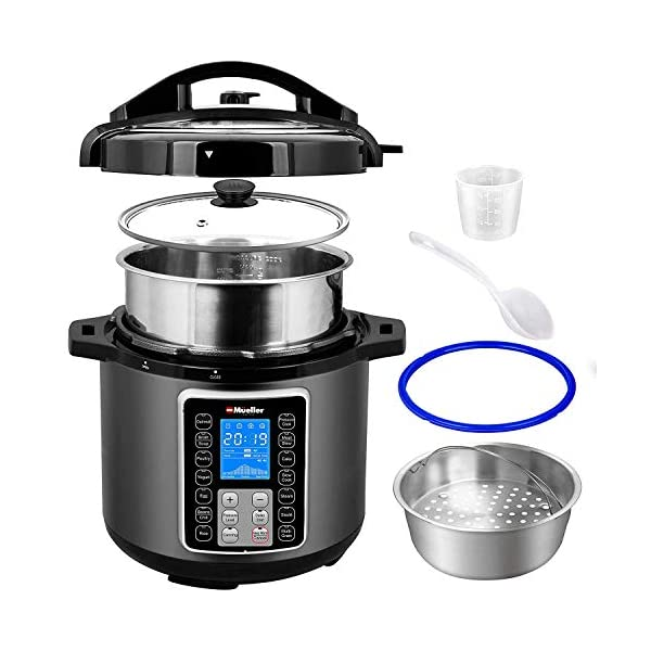 Mueller 6 Quart Pressure Cooker 10 in 1, Cook 2 Dishes at Once, Tempered Glass Lid incl, Saute, Slow Cooker, Rice Cooker, Yogurt Maker and Much More 2