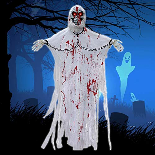 LUKAT Halloween Hanging Ghost Decorations,5.24FT Scary Skeleton Flying Ghost Prop Skull with Creepy Sound and Glowing Eyes for Indoor/Outdoor Decor