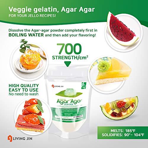 LIVING JIN Agar Agar Powder 12oz (or 4oz | 28oz) : Vegetable Gelatin Powder Dietary Fiber [100% Natural Seaweed + Non GMO + VEGAN + VEGETARIAN + KOSHER + HALAL] by LIVING JIN (Image #2)
