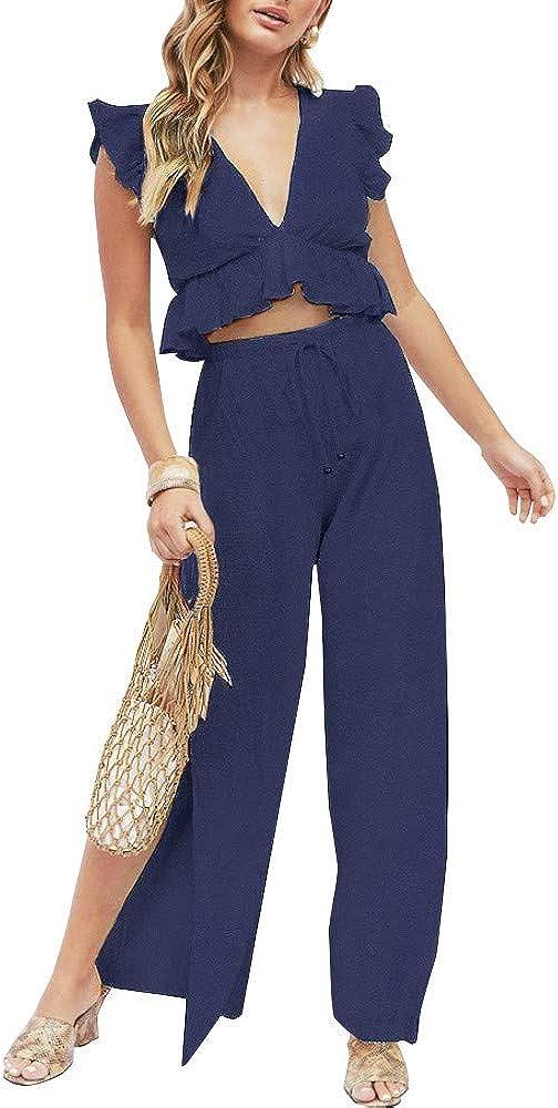 FANCYINN Donne 2 Pezzi Outfit Deep V Neck Crop Top Side Fessura con Coulisse Pantaloni a Gamba Larga Set Tute