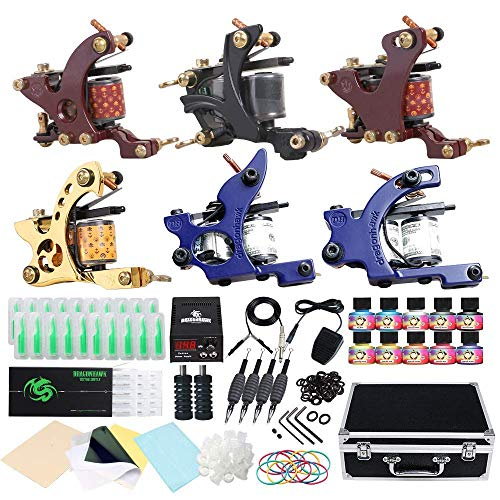 Dragonhawk Complete Tattoo Kit Starter Coils Tattoo Machine Kit Immortal Tattoo Inks Power Supply Needles Grips Tips Foot Pedal Clip Cord with Carry Case 5-3N