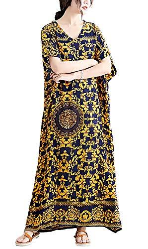 Ladies Cotton Bathing Suits Cover Up Boho Loose Pocket Maxi Beach Dress