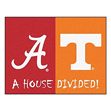 FANMATS 18673 NCAA House Divided Alabama/Tennessee House Divided Mat