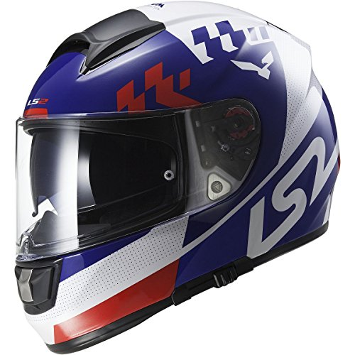 LS2 Helmets Vector Podium Full Face Motorcycle Helmet with Sunshield (White/Blue, Large)