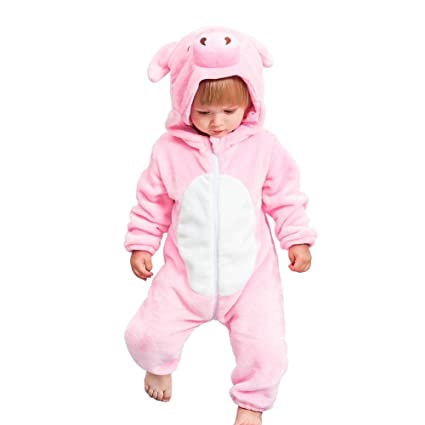 85e01a6d6016 Buy BESTVECH Baby Cartoon Animal Winter Hooded Rompers Front Zipper  Jumpsuit (Pig 12-18M Online at Low Prices in India - Amazon.in