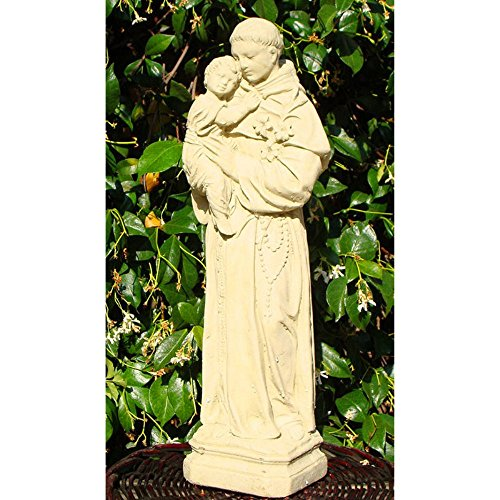 Cast Stone St Anthony with Child Garden Statue, 17″, American Made Review