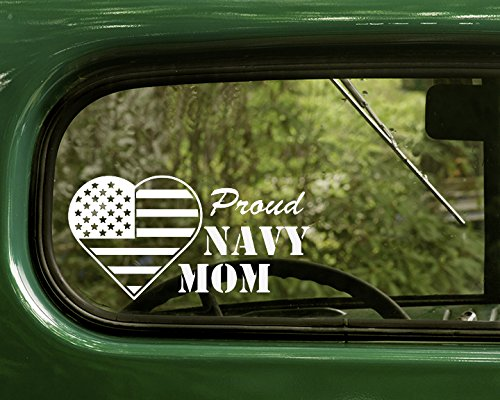2 PROUD U.S. NAVY MOM Stickers Decal White Die Cut For Window Car Jeep 4x4 Truck Laptop Bumper Rv