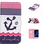 Samsung Galaxy S7 Wallet Case Samsung Galaxy S7 Case PU Leather Flip Hipster Case Card Slot Magnetic Closure Stand Cover For Samsung Galaxy S7 Anchor