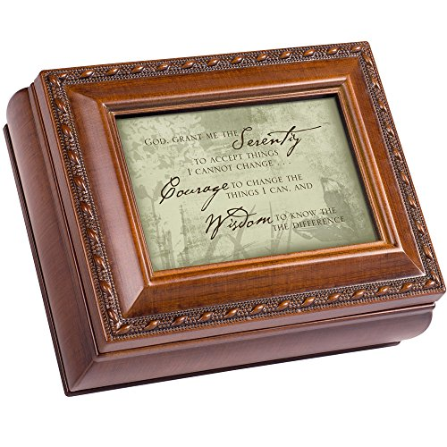 Cottage Garden Serenity Prayer Woodgrain Finish Small Keepsake Jewelry Box