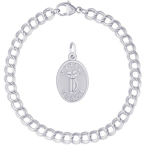 Rembrandt Charms Sterling Silver Myrtle Beach Golf Bag Charm on a Double Link Bracelet, 7