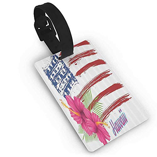 New Creative Luggage Tags Hawaiian Decorations Collection,American Flag Theme Stars and Stripes Hibiscus Leaves Hawaii USA Patriotic Art,Fuchsia Navy Travel Accessories